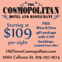 advert for $129 room rate at the Cosmopolitan and link to oldtowncosmopolitna.com