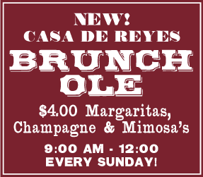 Advertisement for Brunch Ole. $4 Margarits, Champagne, Mimosas. 9am to noon Sundays.